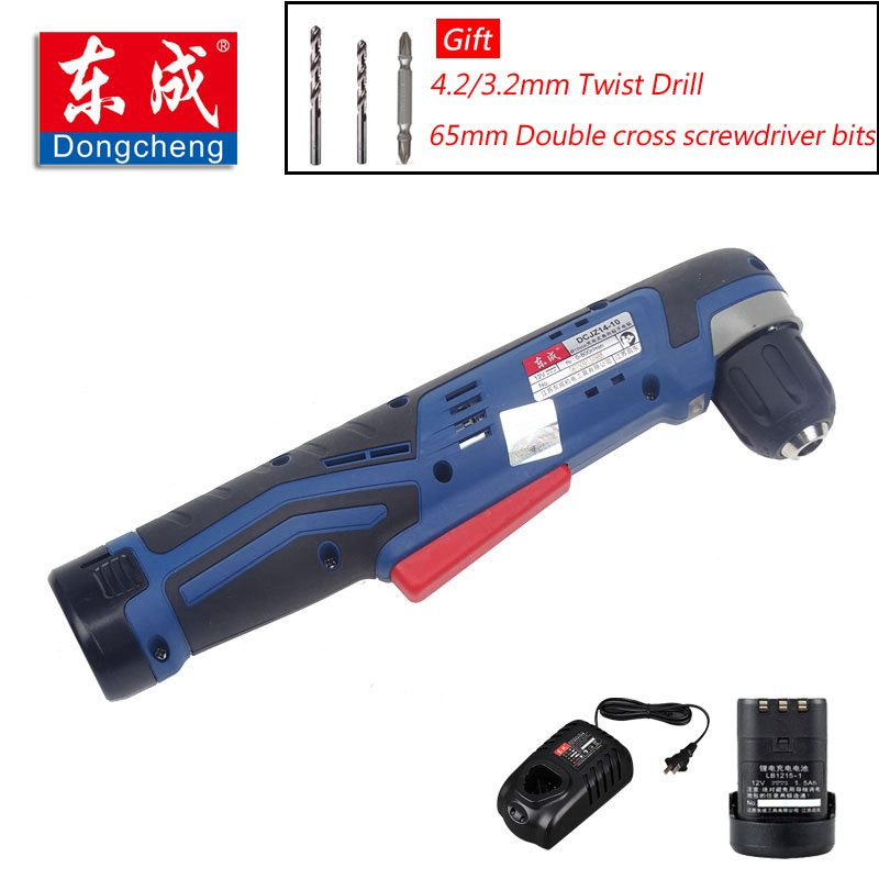 2018 New Cordless Angle Electric Screwdriver Drill 12V Angle Electric Drill 10mm Cordless Drill (2Pcs Battery+Gift) 10mm variable speed electric drill for angle 380w hand drill 90 angle electric drill 0 1400rpm right angle hand electric drill
