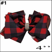 free shipping 10pcs Buffalo Plaid bows christmas Hair Bows With Clips plaid Kids Girls Princess Handmade Boutique bows