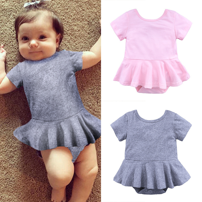 2018 summer Baby girl short sleeve cotton New Born Baby Girls Casual Romper Jumper Suit Clothes Campanula Outfits 2 colors