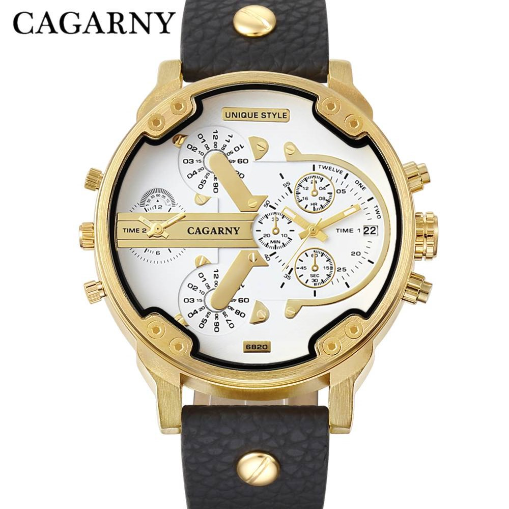 Cagarny New Double Time Boy Watch Domineering Military Waterproof Business Classic Watch gold Shell Belt Quartz Men Clock Watch new fashionable men business silver belt gear quartz watch