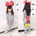 Outono Inverno Meninas Roupas Roupa Dos Miúdos Dos Desenhos Animados Minnie Mouse Conjunto De Algodão Meninas de Manga Comprida T-camisa + Calça Harém Conjunto de roupas 81013