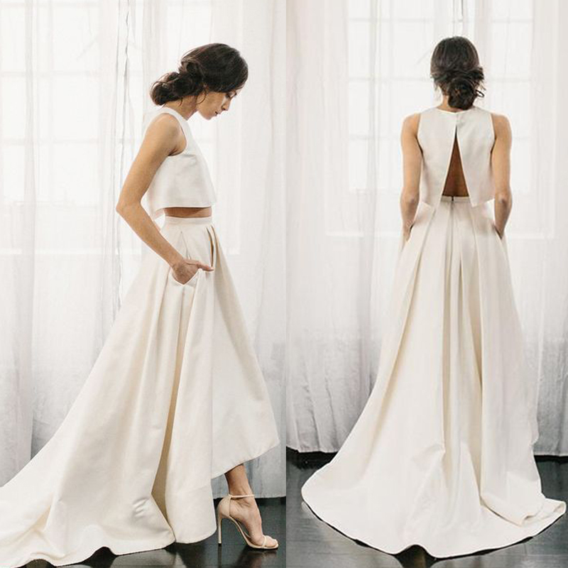 SHAMAI   Prom     Dress   2019 New Trend Crop Top Bride Banquet Elegant High Low Party   Prom     Dress   Many Color Choe Robe De Soiree
