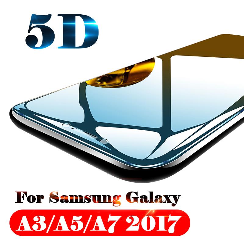 2pcs 5D Protective Glass For Samsung Galaxy A3 A5 A7 2017 3a 5a 7a A3 5 7 Tempered Glas Protect Screen Protector Film Full Cover