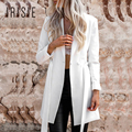 IRISIE Apparel Blanco Casual Mujeres Traje Chaqueta Delgada Lazo de La Cintura Básica Chaqueta de Traje Chaqueta Femenina Elegante de Muy Buen Gusto Elegante Capa de la Chaqueta