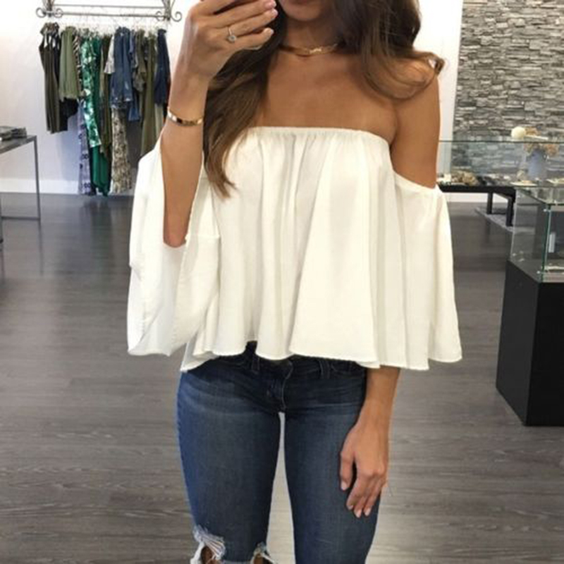 Casual Half Sleeve Blouse Shirt Women Tops Ruffle White