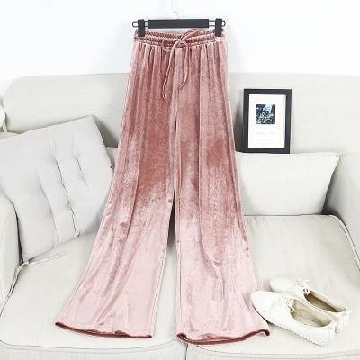 Fashion Velvet High Waist Wide Leg Pants Women Autumn Winter New Trousers Clothing 1