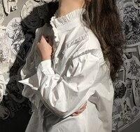 Lotus yaprağı dikiş süper fold retro küçük yüksek yaka küçük dantel gevşek beyaz gömlek uzun kollu bluz
