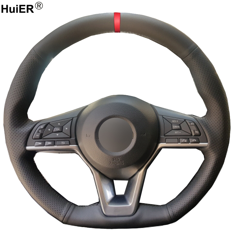 HuiER Hand Sewing Car Steering Wheel Cover For Nissan Kicks X-TRAIL 2017 March Rogue Qashqai 2017 Serena Braid on Steering-wheel diy top leather hand sewing car steering wheel cover black