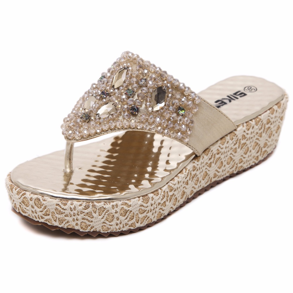 где купить Golden Fashion Sexy Rhinestones Sandals Women Ladies Wedge Sandals Summer Shoes Woman sandalias mujer 2018 по лучшей цене