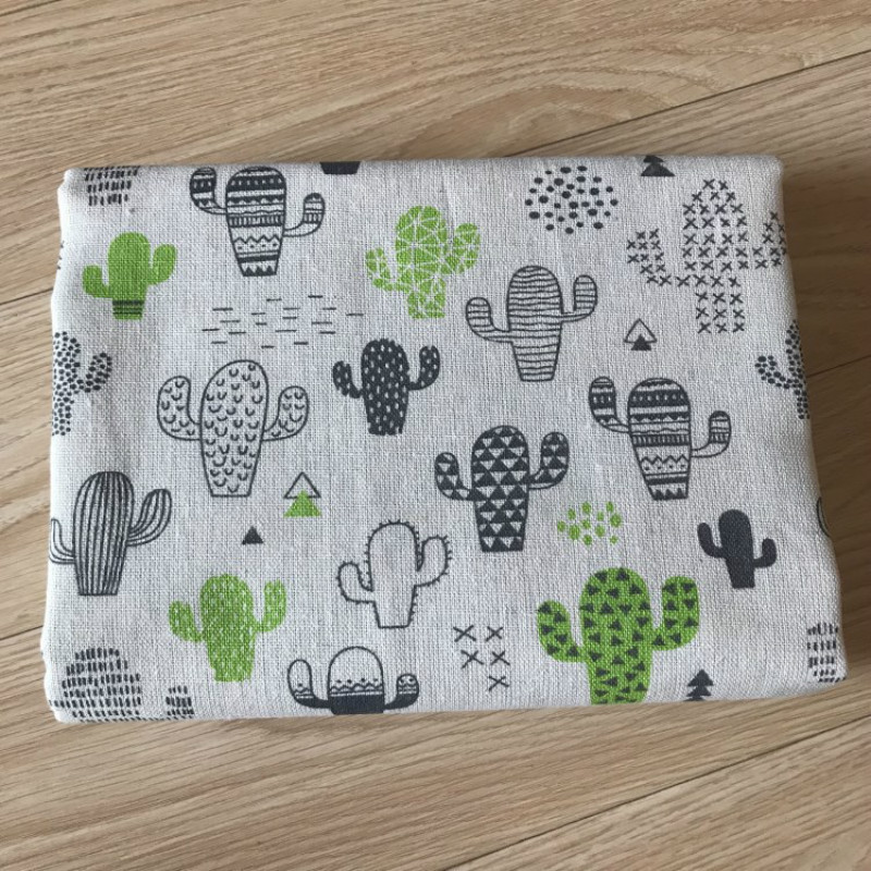 Cactus Cotton Linen Fabric Printing Cotton Cloth For Diy Handmade