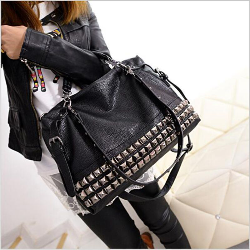 ФОТО Rivet women's genuine leather handbag autumn and winter 2017 cowhide messenger bag one shoulder handbag big bags