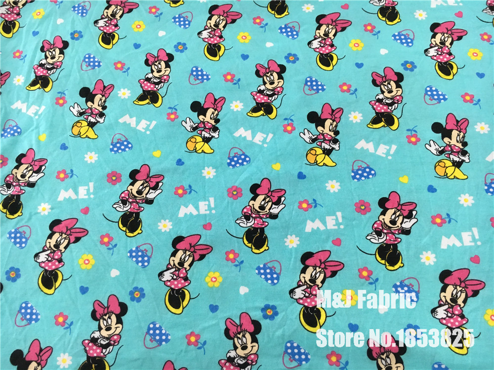 Pink Daisy Duck Minnie Elasticity Knitted Cotton Fabric For Sewing Diy Patchwork Baby Girl Shirt Clothes Textile 50*192cm Arts,crafts & Sewing