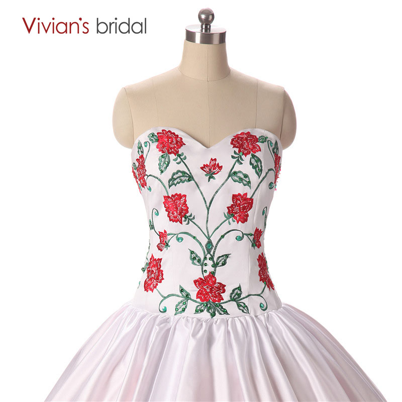 Aliexpress.com : Buy Red and White Embroidery Ball Gown Quinceanera ...