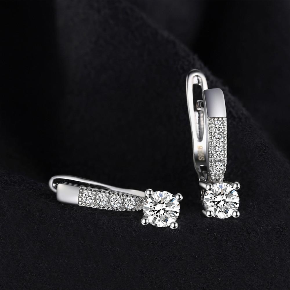 Sterling Silver Earrings 1ct Cubic Zirconia CZ Clip Earrings Fine Jewelry Anniversary Gifts For Women Fashion 2