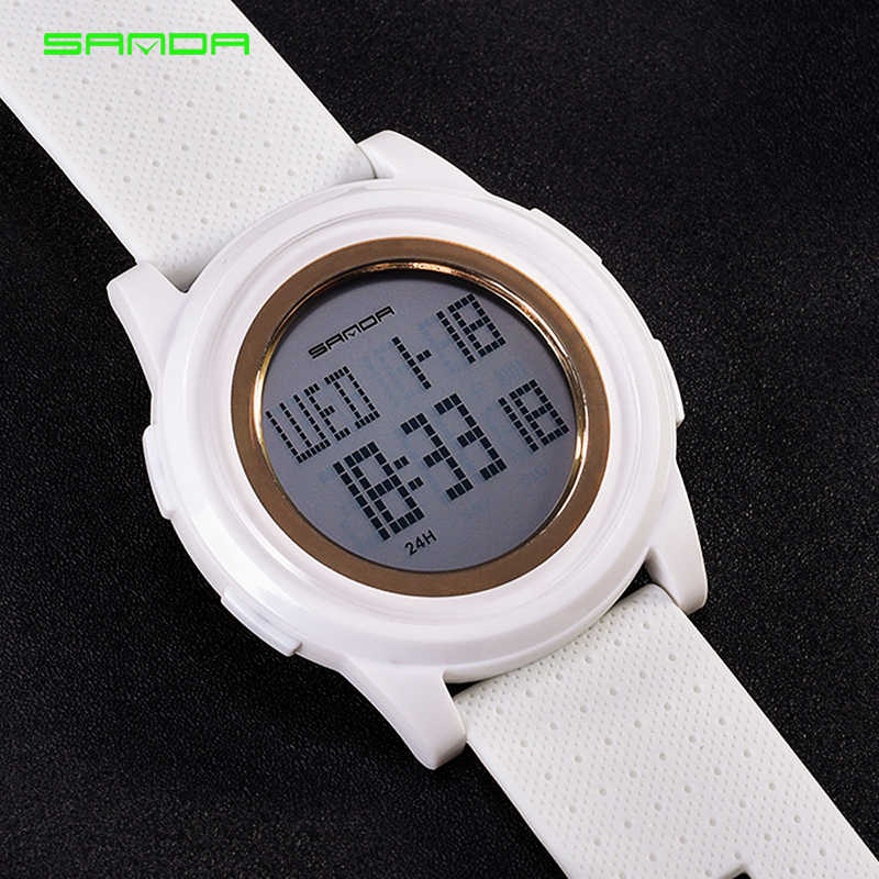 e33a7b0c876 ... SANDA Fashion Women Sports Watches Waterproof 30m Ladies Ultra Thin LED  Digital Watch Swimming Diving Hand ...