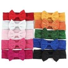 1 шт. новая плотная эластичная повязка на голову для детей с блестками 4''bow Тюрбан повязка для волос для детей эластичные резинки для волос Головные уборы