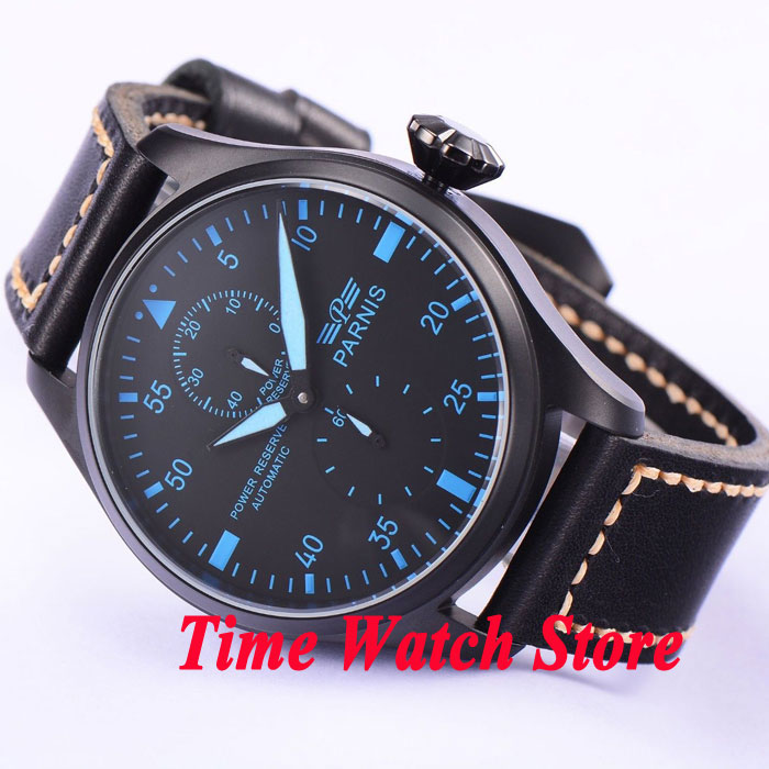 Parnis 47mm black dial blue marks power reserve indicator PVD case Automatic movement men's watch 425 стоимость