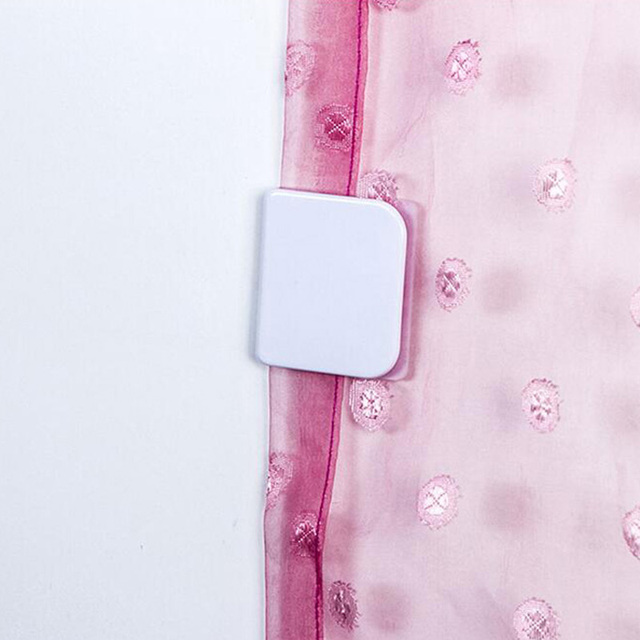 2 Pcs Shower Curtain Clip Bathroom Accessories Fixed Hook Privacy Protection Sticky Hooks Prevent Windows
