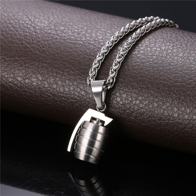 Cool Grenade Shape Pendant & Necklace American Style Stainless Steel/Gold Plated Chain For Men Punk Jewelry 2016 GP1890