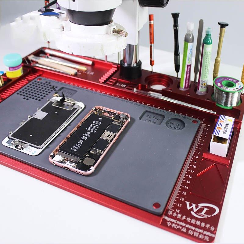 Protection multifonctionnelle d'alliage d'aluminium pour le tapis d'entretien résistant à la chaleur élevé de Microscope pour la plate-forme de réparation de téléphone