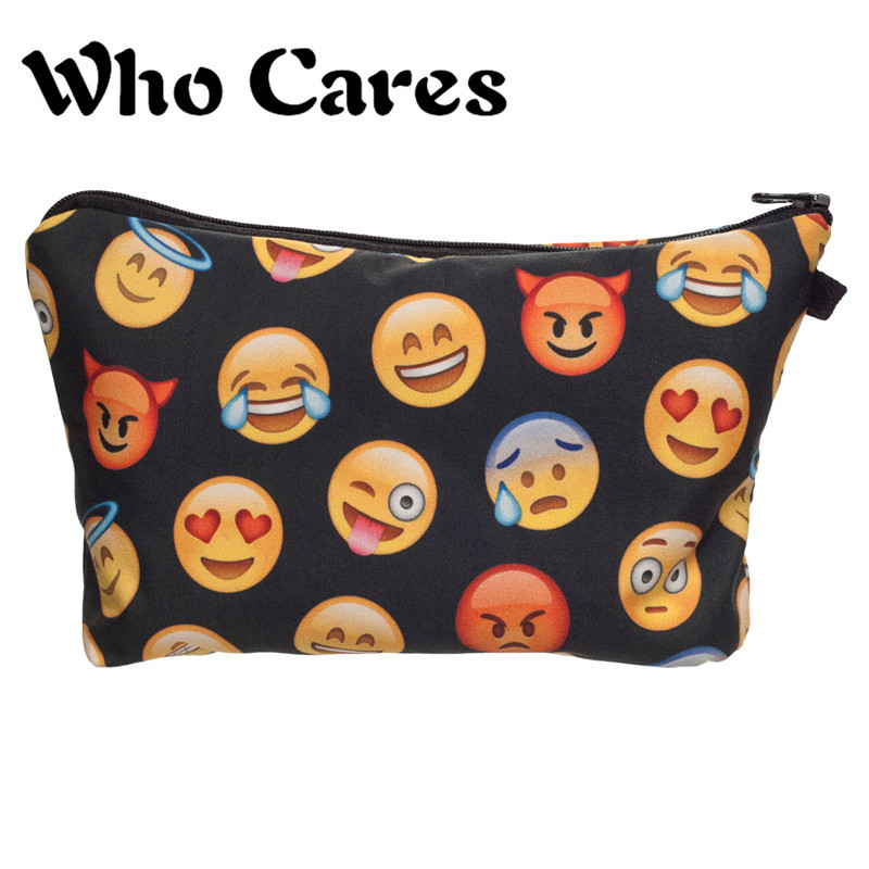 Many Emoji Black Pattern Women Makeup Bags Who Cares Pencil Case organizador neceser cosmetic Cases Handbags