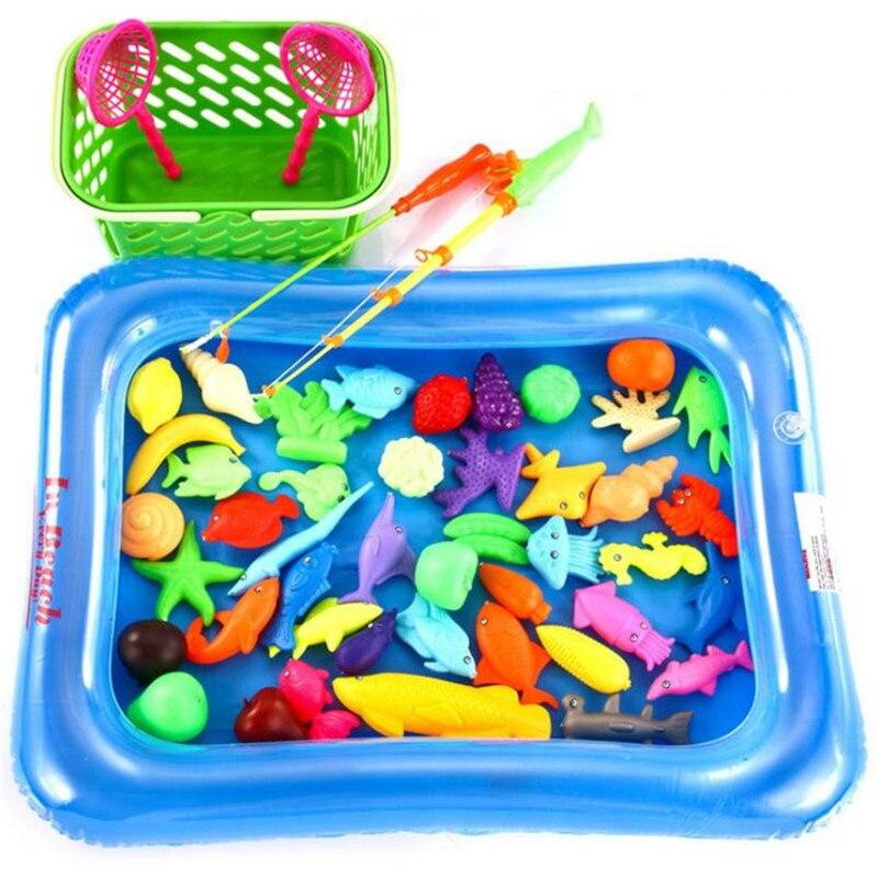 magnetic mainan memancing dengan dua pancing kolam renang inflator outdoor menyenangkan olahraga ikan