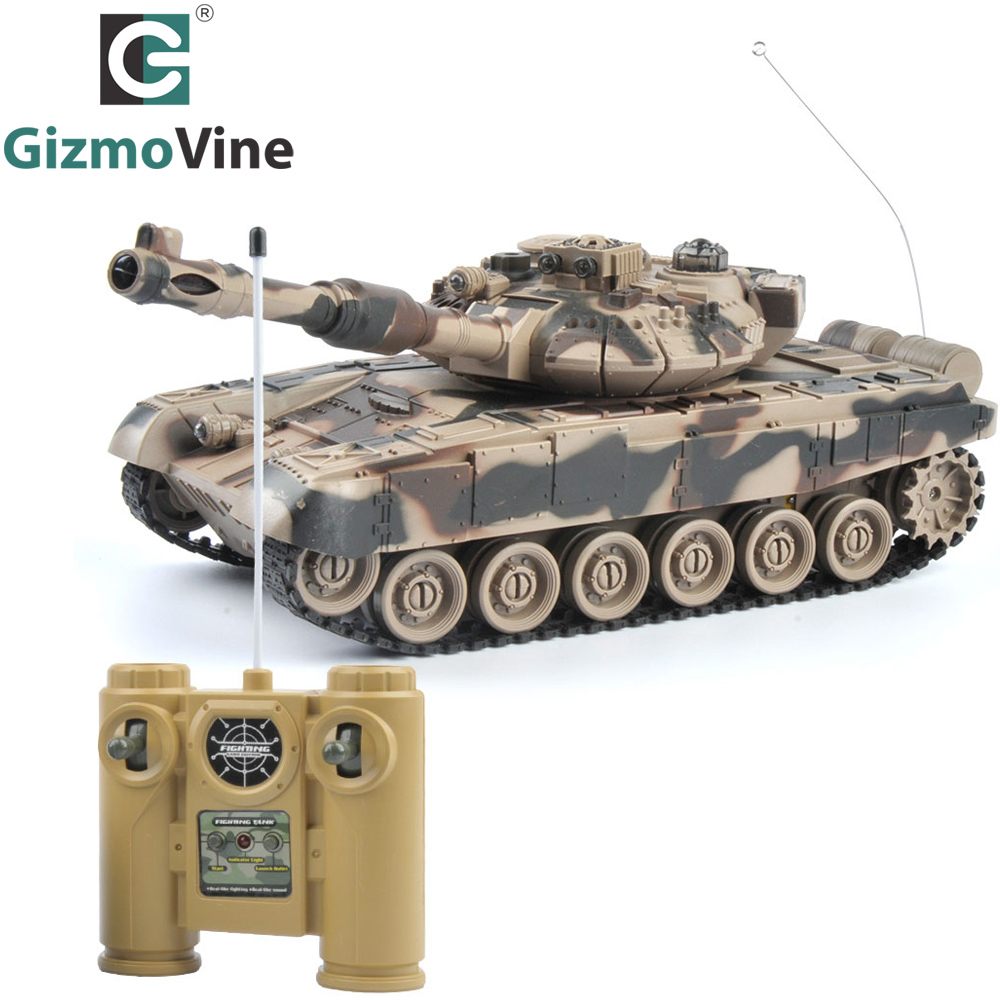 GizmoVine RC Tank 1/20 9CH 27Mhz Infrared RC Battle Tiger T90 Tank Cannon & Emmagee Remote Control Tank remote toys for boys 2 4g huanqi 516c rc infrared battle tank automatic shows tank remote control toys tank for children gift 1pcs lot