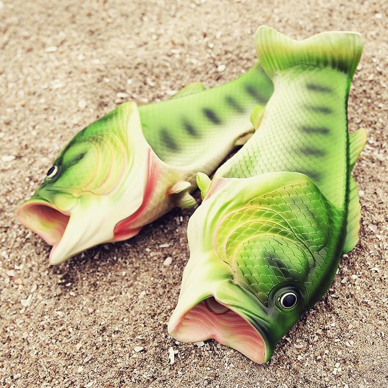 Для мужчин и Для женщин Летние тапочки 2018 Новый Стиль Забавный пляжные сандалии Модные Слайд Toe обуви рыбы обувь Sandalias Hombre TBYU