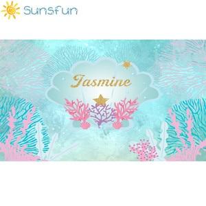 Image 2 - Sunsfun 7x5ftマーメイド写真背景子供の誕生日パーティーの背景の海のテーマの背景クラゲphotocall