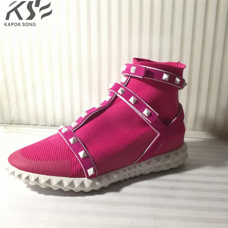 2018 stretch  women leather boots luxury designer socks shoes short  female knitting weave fashion spring shoes lady