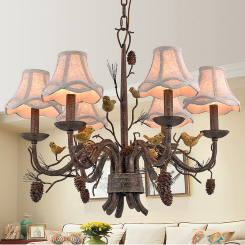 Living room bedroom vintage chandelier pine cone bird chandelier restaurant study light creative bar cafe clothing store lamps the cafe shop vintage clothing store small chandelier bar loft iron chandelier geometry character