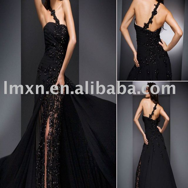 Free shipping elegant black beading one-shoulder chiffon evening gown