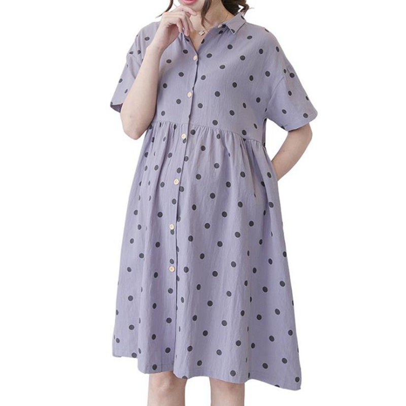 Pregnant clothes summer Pregnant womans dress Cotton dots Single-breasted Elegant dress vestido maternidad maternity clothes
