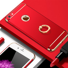 цена на Luxury Hybrid 3 in 1 Phone Case For iphone 7 6 6S 8 Plus Ultra Thin Shockproof Ring Back Cover For iphone X 5 5S SE Hard PC Case