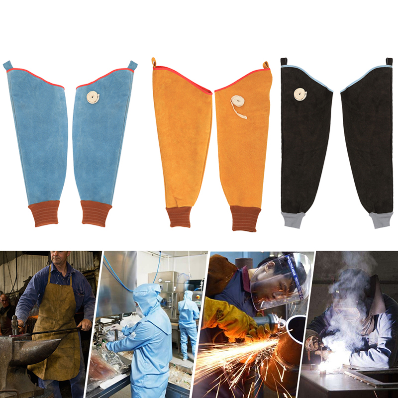 2Pcs Wear-resistant Cowhide Welding Sleeves Of Welder Clothing High Temperature Resistant Working Arm Protective Safety Gloves
