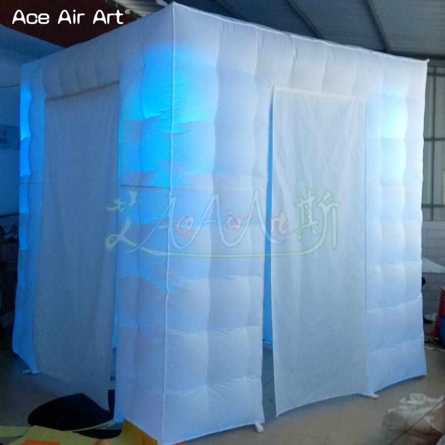 Accessoires gonflables de cabine de photo de conception de taille de porte scientifique, tente menée de cube d'éclairage avec le rideau attaché et les portes de taille différente - 4
