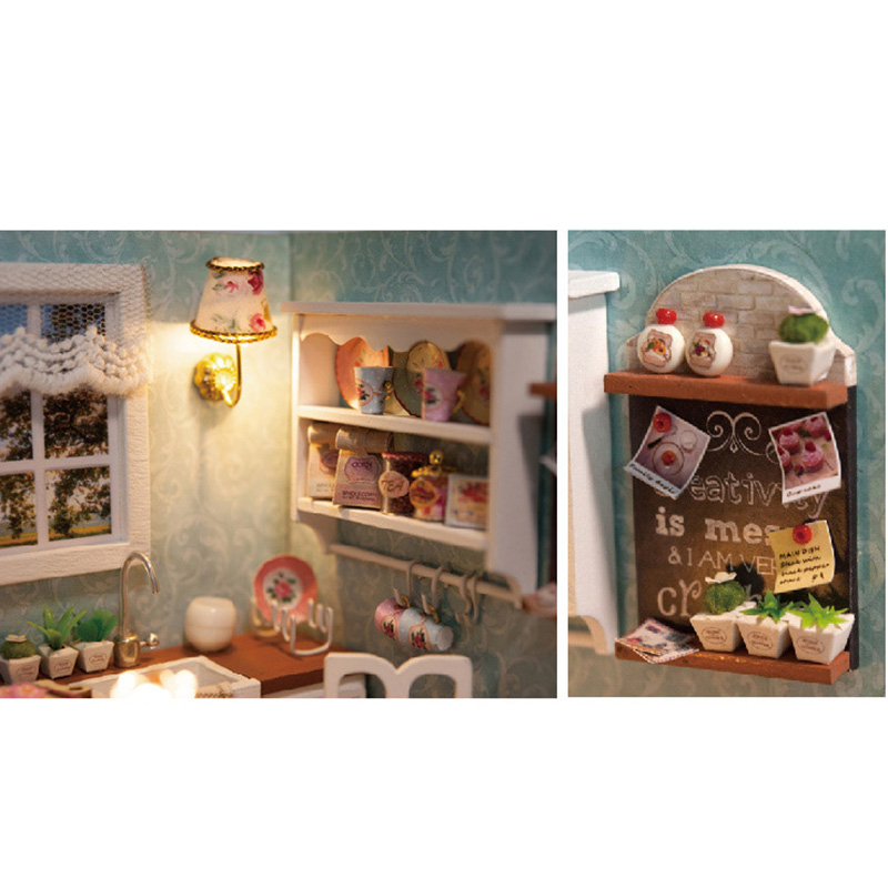 Kids-ChristmasBirthday-Gift-DIY-Wooden-Doll-House-Toys-Dollhouse-Miniature-Box-Kit-Handcraft-Dollhouse-Kitchen-Model-T30-4