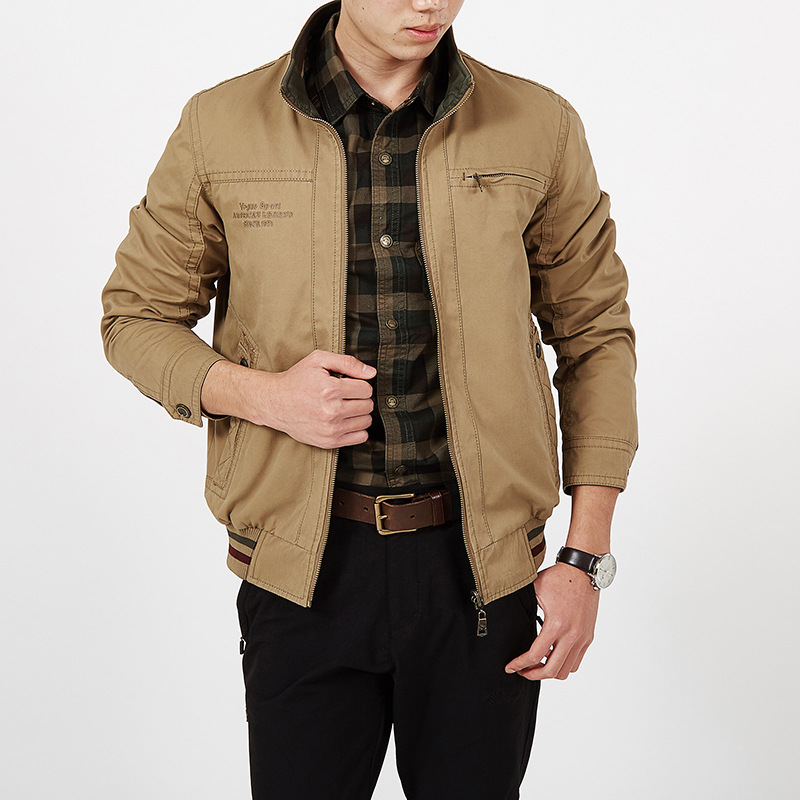 Autumn Jacket Men Double sided Wear Jacket Men Military Jacket Coat Male 100% Cotton Solid Jaqueta Masculina Plus Size L 5XL-in Jackets from Men's Clothing    1