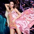 Long Sleeve Ladies Sexy Temptation Lingerie Suit Imitation Silk Pajamas Suspenders Nightdress Sexy Nightgown G68