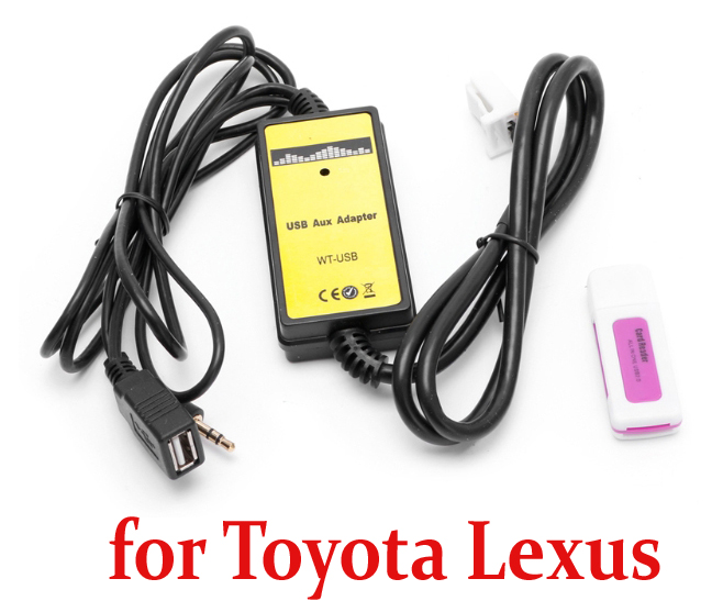 2018 New Car CD Adapter MP3 Audio Interface AUX SD USB Data Cable Adapter 12P Connect CD Changer for Toyota Lexus Scion