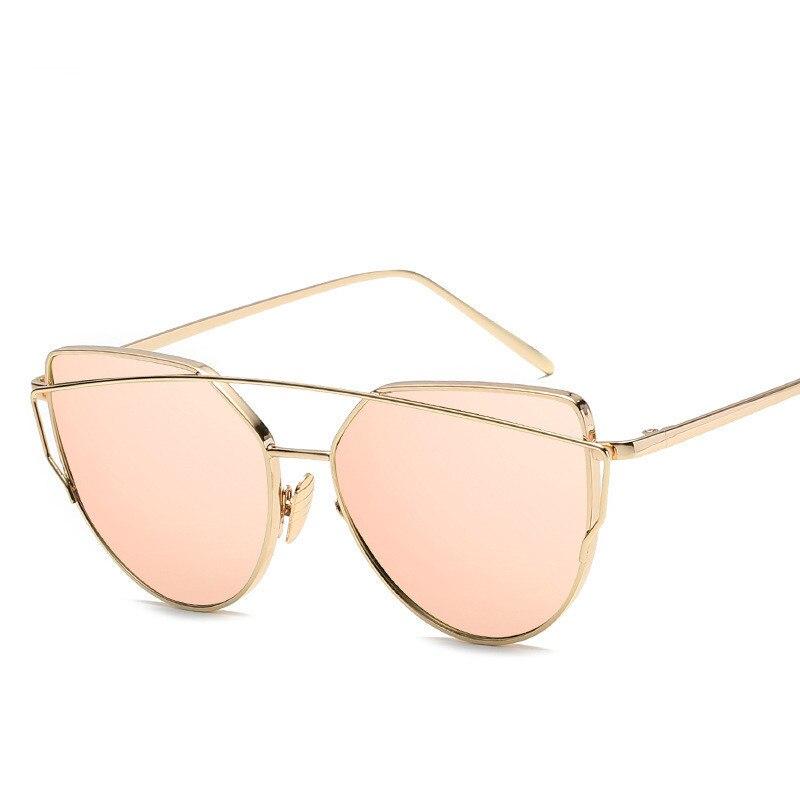 ZXRCYYL Sunglasses Women Luxury Cat eye Brand Design Mirror Rose New Gold Vintage Cateye Fashion sun glasses lady Eyewear UV400