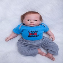 20 inch 50 cm Silicone baby reborn dolls, lifelike doll reborn Cute blue set baby boy girl gift