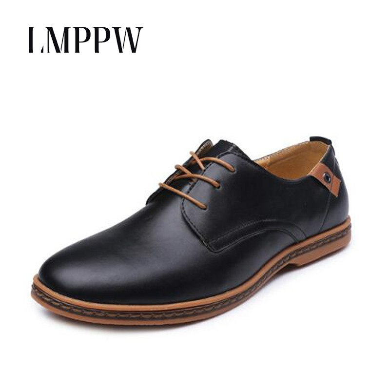 2018 New Pu Leather Men Dress Shoes Big Size Oxford Shoes Pointed Toe Lace Up Men's Business Casual Shoes Black Brown Men Flats new fashion men dress shoes men s business pu leather shoes pointed toe lace up male casual shoes brown black leather oxfords