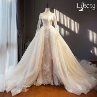 Light Champagne Ivory Unique Wedding Dress Long Removable Train Hem Appliques Long Sleeves Saudi Arabia Brides Formal Gowns Long
