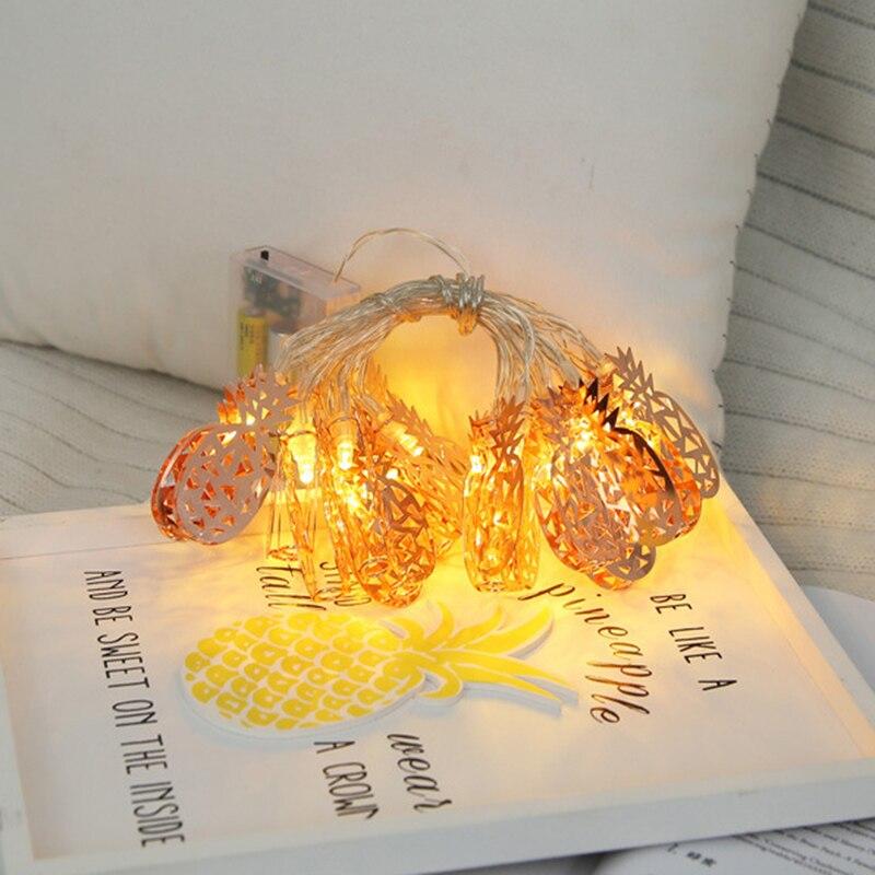 Rose Gold Light pineapple 10 LED Lantern String Lights hoiliday light for Bedroom Battery Powered