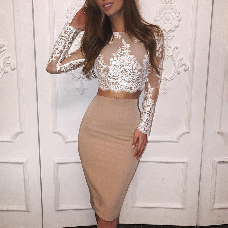 2019 Autumn Women Elegant Casual Cocktail Party Midi Alluring Suit Sets Crochet Floral Lace Eyelash Top & Slinky Skirt Sets