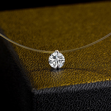 Sale Silver color Dazzling Zircon Necklace For Women And Invisible Transparent Fishing Line Simple Pendant Jewelry