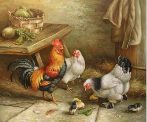 Free Shipping100% Hand painted Art Oil Painting Rooster