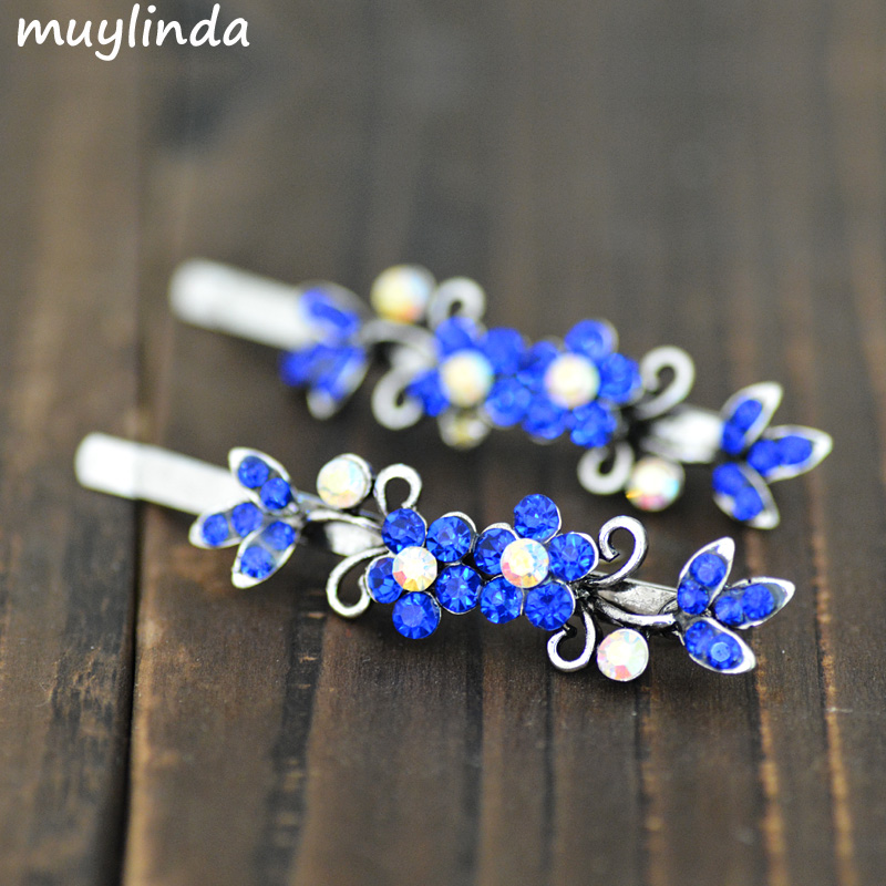 2PCS Retro Flower Hair Jewelry High Quality Crystal Rhinestone Hairpin Clip For Women