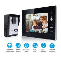 Saful 7 ''TFT LCD cable Video puerta teléfono Video Visual intercomunicador altavoz IR visión nocturna Cámara timbre sistema intercomunicador